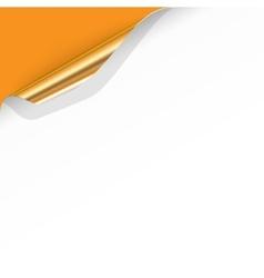 Gold Curled Corner with Orange Background vector image