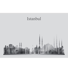 Istanbul city skyline silhouette in grayscale vector image