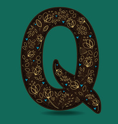 letter q with golden floral decor vector image