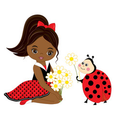 little african american girl with ladybug vector image vector image