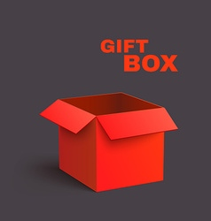 Open red box isolated on dark background vector