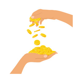 hand holding a pile of coins and a hand throwing vector image vector image