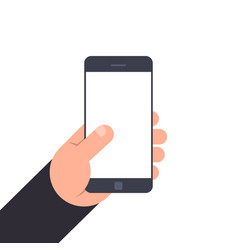 hand holding smartphone with blank screen flat vector image vector image