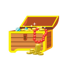 Open chest with shining pirate treasures on white vector