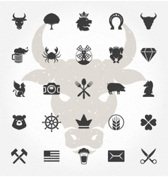 Retro Hand Drawn Objects and Icons Design vector image