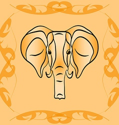 The outline of an elephant in sepia vector image vector image