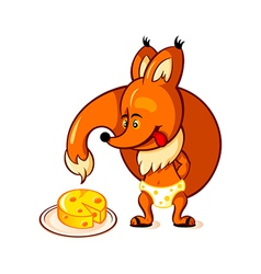 Little fox and big cheese vector image