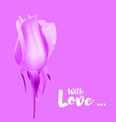 realistic rose bud with stem and leaves pink vector image