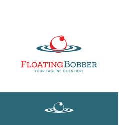 Red and white fishing bobber logo design vector