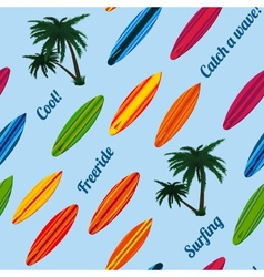 Seamless vacation pattern with surfboards vector image vector image