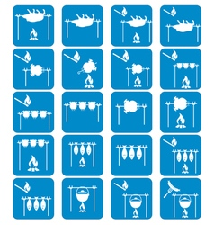 Set of camp coocking icons vector