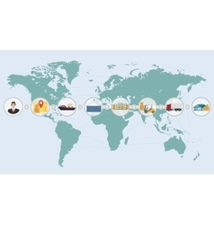 World map concept of cargo logistics delivery vector image