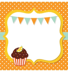 Birthday card with a cupcake vector image vector image