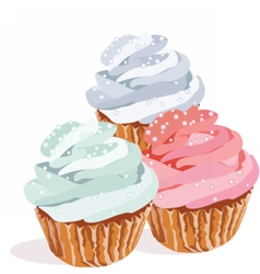 Cupcakes isolated on white background vector