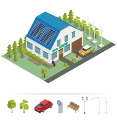 Eco House Isometric Building Alternative Energy vector image vector image