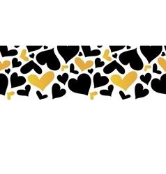 Gold and Black Hearts Horizontal Seamless vector image vector image