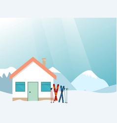 mountain ski resort landscape ski resort vector image vector image