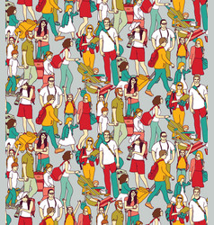 people travel luggage crowd seamless pattern vector image vector image