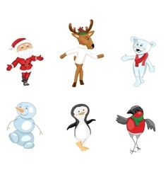 Santa and traditional Christmas characters on vector image