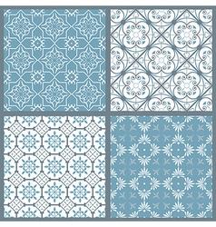 Set of four vintage symmetric seamless patternsai vector image vector image