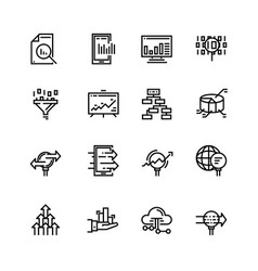 simple set of data analysis related line vector image vector image