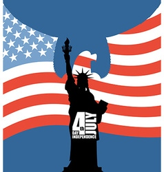 Statue of Liberty on background of American flag vector image vector image