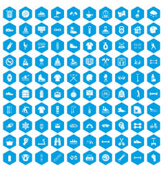 100 sport life icons set blue vector image