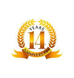 14 years ribbon anniversary vector image