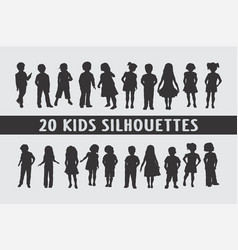 20 kids in poses set of shapes vector image