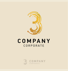 3 company logo design with white background vector image