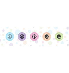 5 silent icons vector