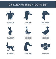 9 friendly icons vector