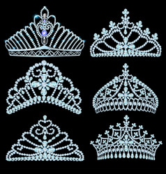 A fashion collection jewelry tiaras vector