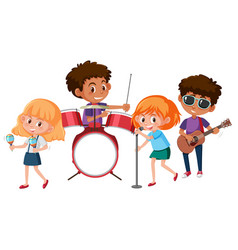 A music band on white background vector