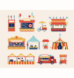 amusement park kiosks set vector image