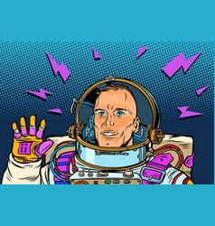 astronaut hello gesture vector image
