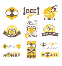 Bee honey company promotional logotypes set with vector