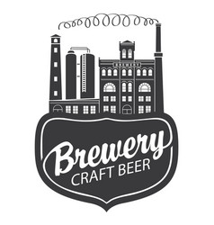 beer banner with brewery building in retro style vector image
