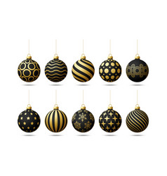 black and gold christmas tree toy oe balls set vector image