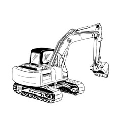 Black sketch of big excavator vector