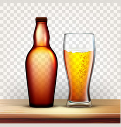 Bottle of beer and glass with frothy drink vector
