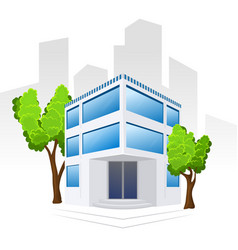 building icon with trees vector image
