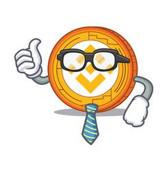 Businessman binance coin character catoon vector
