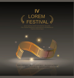 Camera film 35 mm roll gold festival movie vector image