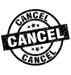 Cancel round grunge black stamp vector
