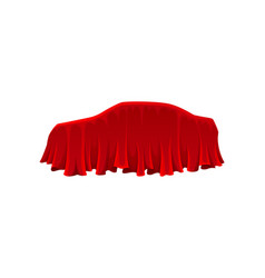 Car under red silk cloth presentation concept vector