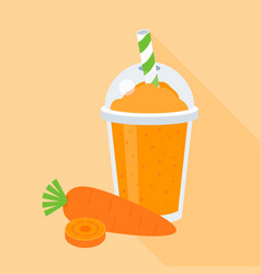 carrot smoothie or juice in plastic glass vector image