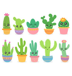 cartoon cactus cute succulent or cacti plant vector image