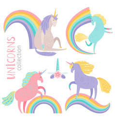cartoon character unicorns and rainbows vector image