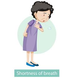 Cartoon character with shortness breath vector